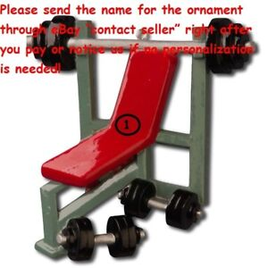 FITNESS WORKOUT GYM WEIGHTLIFTING PRESS BENCH PERSONALIZED CHRISTMAS ORNAMENT