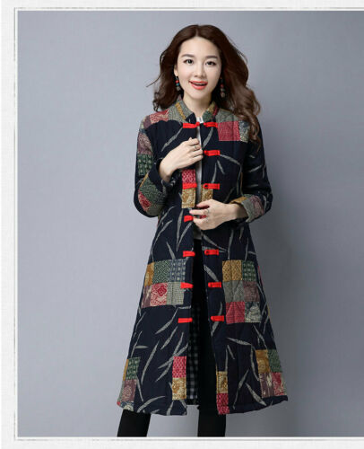 Retro Women/'s Long Coat windbreak Cotton Linen Chinese Style Floral Outwear Chic