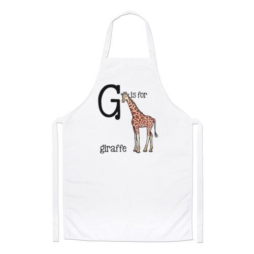 Lettre G est pour girafe Chefs Tablier-Alphabet Animal Drôle Cuisine