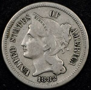 BEAUTIFUL-HIGHER-GRADE-VF-1882-THREE-CENT-NICKEL-LOW-MINTAGE-KEY-DATE-2