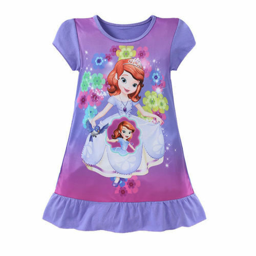 UK Kids Girls Cartoon Mermaid Princess Dress Tutu Dress Party Costume Sleepwear