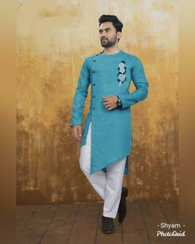 Indian Ethnic Wear Men/'s Kurta Solid Pattern Cotton Kurta Pajama Set  SE 28-5