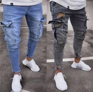 Men S Jeans Zip Pants Leggings Jogger Slim Fit Denim Jogger Pants Skinny Pocket Ebay