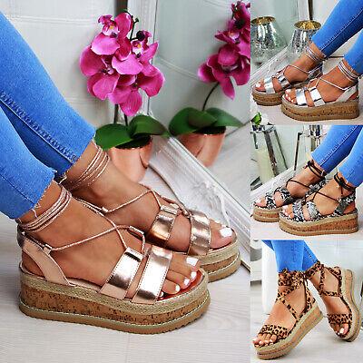 Qualifiziert New Womens Platform Sandals Espadrille Ankle Tie Up Comfy Summer Shoes Sizes 3-8 Sparen Sie 50-70%