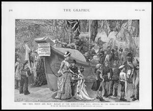 1886-Antique-Print-LONDON-Agricultural-Hall-Duke-Connaught-Bazaar-45