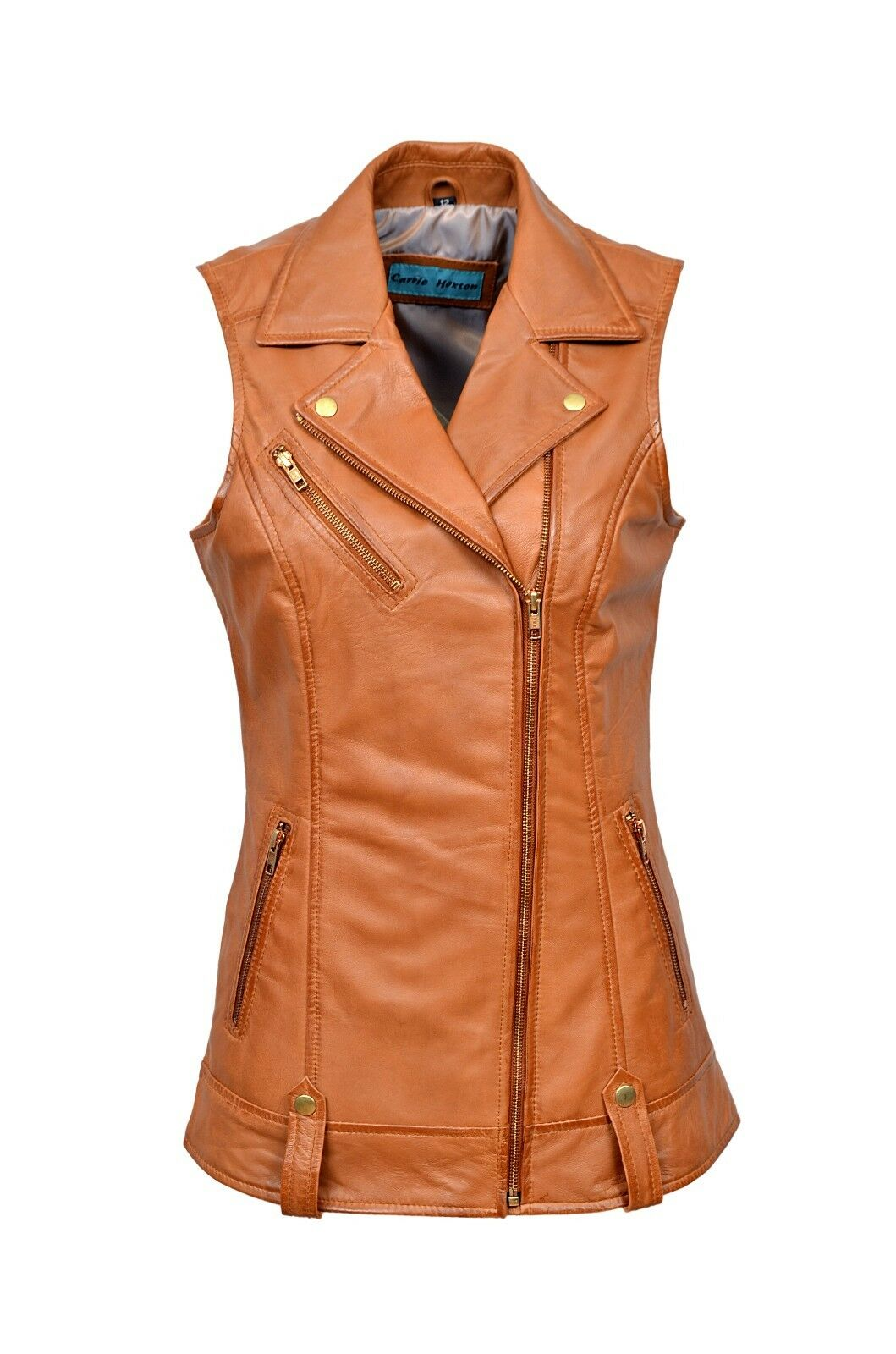 Luxury New Ladies Biker Waistcoat Tan Real Nappa Leather Casual Style Design