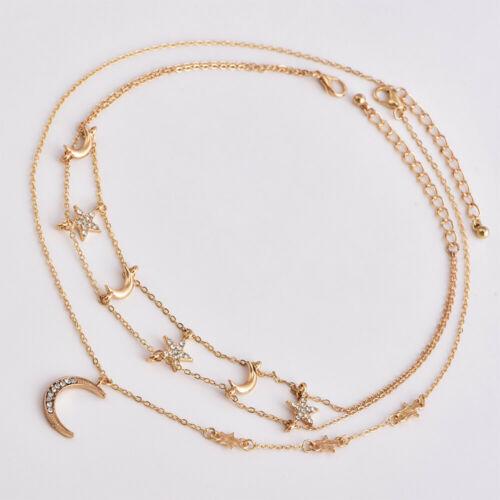 Multicouche Bohème Tour de cou collier pendentif Cristal Étoile Lune Chaîne Femmes Bijoux