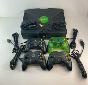 Microsoft Original Xbox Console Bundle 4 Controller Lot Tested Works