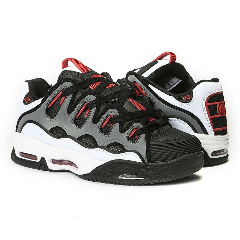 Osiris D3 2001 WHITE BLACK RED Skate Shoes CLASSIC