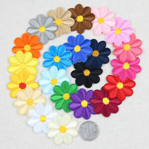 23 Color Daisy Patches Embroidered Sun flower Iron on/Sew Patch Applique Badges