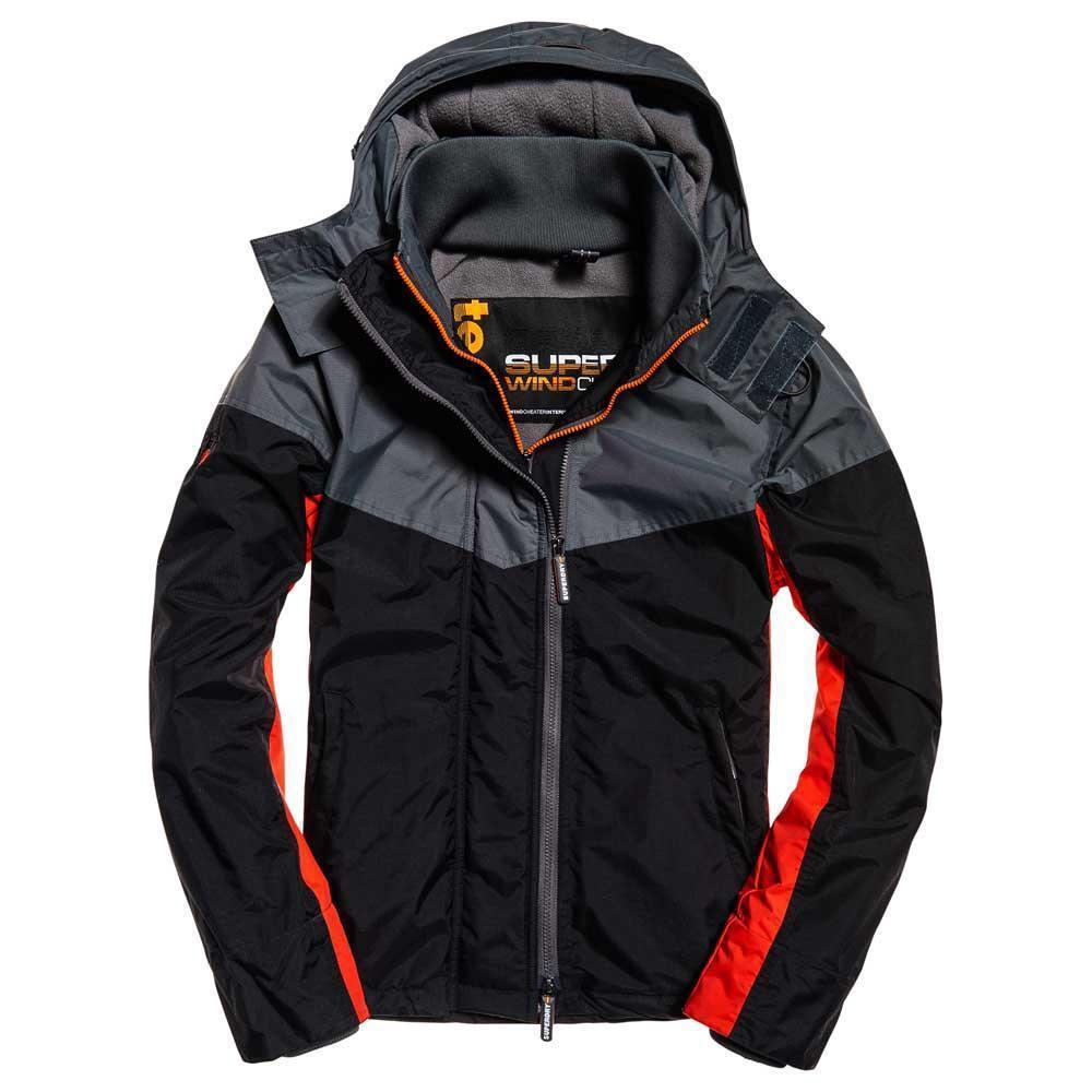 Superdry Mens New Hooded Windtrekker Jacket Coat Full Zip Navy Marl Feeder