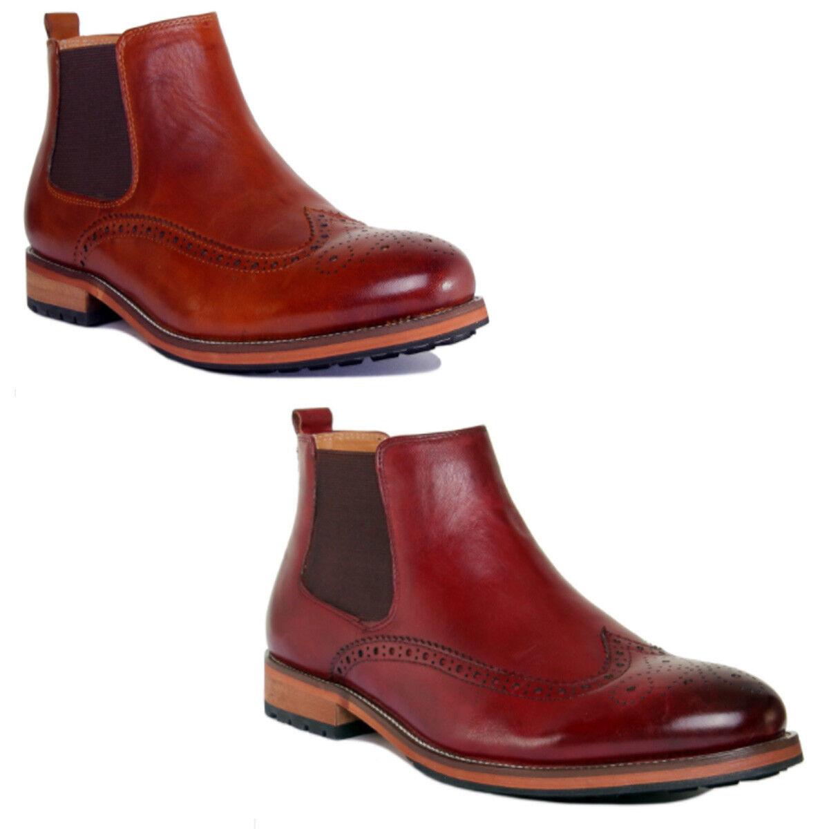 Justin Reece Barton Men Leather Matt Brown Ankle Boots Size UK 6 -12