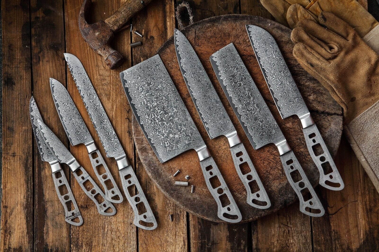 KATSURA Japanese AUS 10 Damascus Steel 67 Layer Chef's Knife blank set, 8pcs