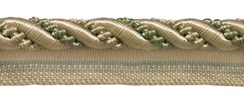 "27 Yards Olive Champagne 7//16/"" Decoractive Lip Cord Sagegrass"