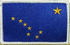 ALASKA STATE Flag  Military Patch With VELCRO® Brand Fastener White Border #31
