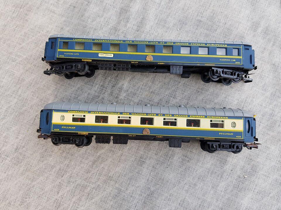 Modeltog Wagons-Lits resturant Vogn og Sovevogn, skala