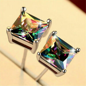 Mystic-925-Silver-Princess-Cut-Rainbow-Topaz-Stud-Earrings-Wedding-Band-Jewelry