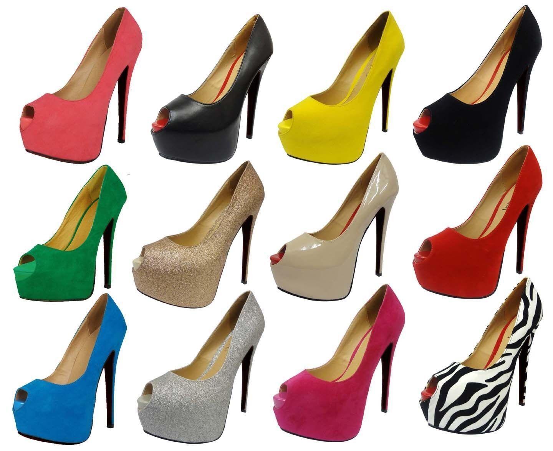 Ladies Stiletto High Heel Peep Toe Concealed Platform Court Shoes Women Pump 3-8
