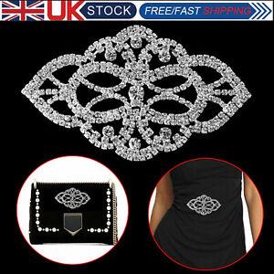 Diamante-Silver-Rhinestone-Sew-on-Motif-Crystal-Applique-Patch-Bridal-Wedding