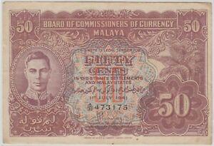 Mazuma *M1242 Malaya 1941 KGVI 50 Cents A/30 473175 AEF