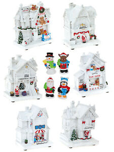 LIGHT-Up-Bianco-Natale-Scena-Decorazione-Natale-LED-tradizionali-negozi-Village