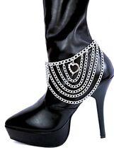Fußkette Fusskettchen Silber Metall Herz Anhänger Strass Stiefelkette