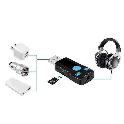 Receptor Bluetooth 3.5 mm BT Estéreo Inalámbrico USB Adaptador De Coche Aux Audio Música Reino Unido
