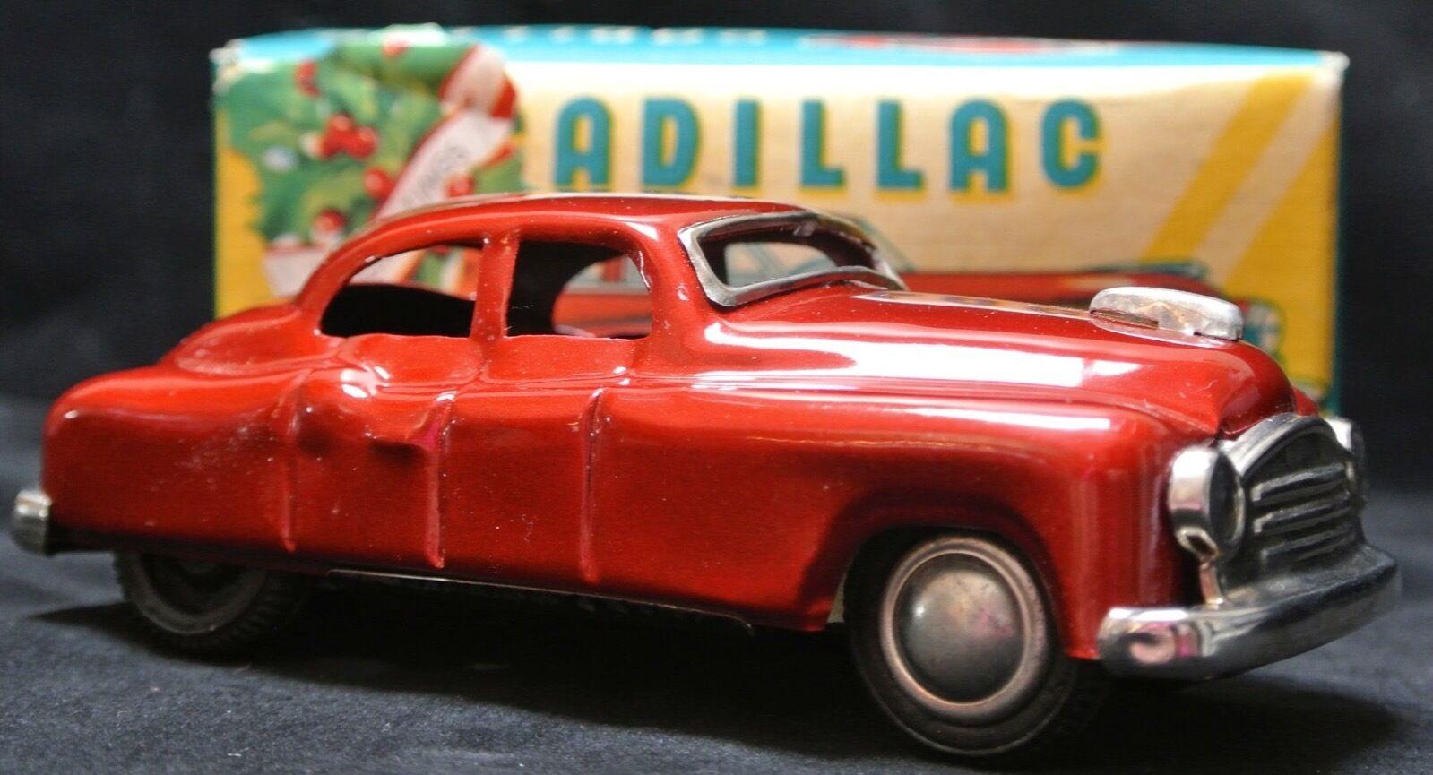 Jahrgang 1950 ist japan zinn spielzeug rot cadillac - schönen auto w   kasten - box zeigt, tragen