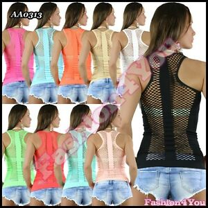 Sexy-Women-039-s-Top-Summer-Ladies-Casual-Everyday-Fishnet-Top-One-Size-8-10-12-14