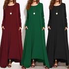 Plus Size Zanzea Women Long Sleeve Casual Solid Kaftan Long Maxi Dress Caftan