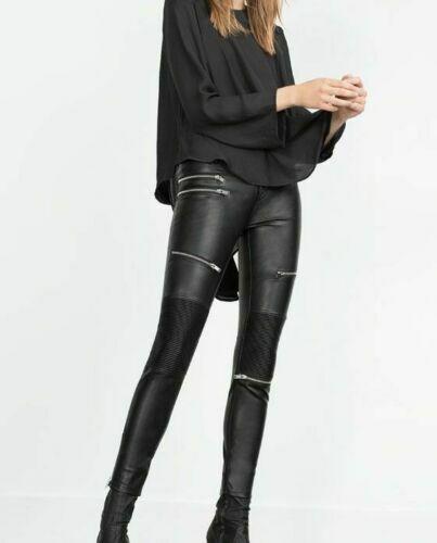 Women black Real Lambskin Leather Biker Pants Trousers Slim fit Leggings
