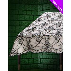 Image Is Loading Halloween Spiderweb Cobweb Black Lace TABLECLOTH Cover 180