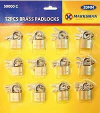 12PC 20MM BRASS SMALL PADLOCKS WITH KEYS LUGGAGE LOCK TRAVEL BAGS PAD LOCKS