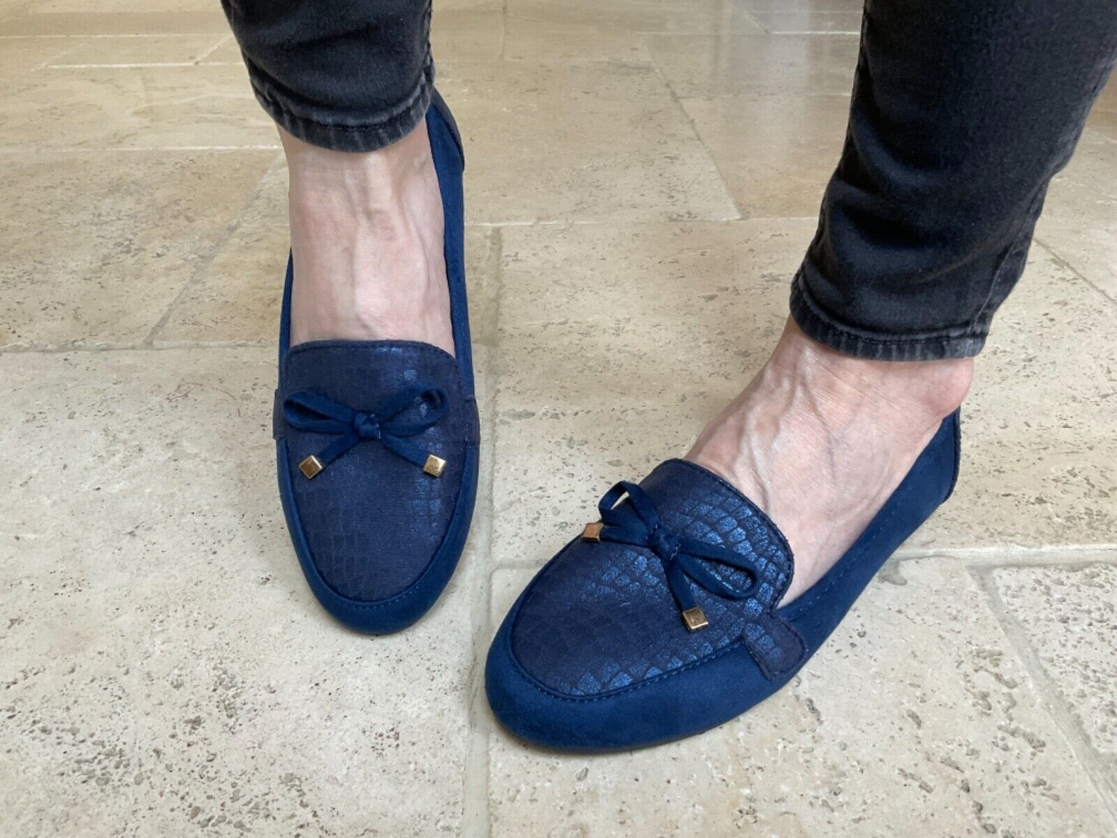 Womens Flat Party Shoes Work With Pretty Bow Detail Ladies - 9988-151 Blue