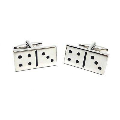 Rhodium Plated Domino Tiles Cufflinks Presented In A Box X2psn097 Terrific Value Men's Accessories