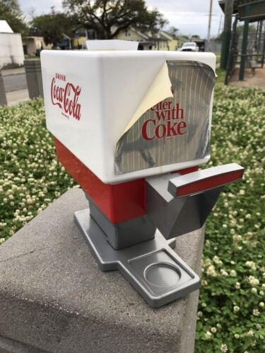 "VTG TOY COCACOLA SODA POP DISPENSER + 4 COKE ""GLASSES"""