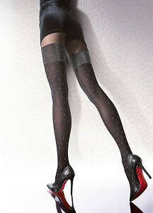 Collant fantaisie motif bas fiore pailleté femme 40DEN Patterned tights