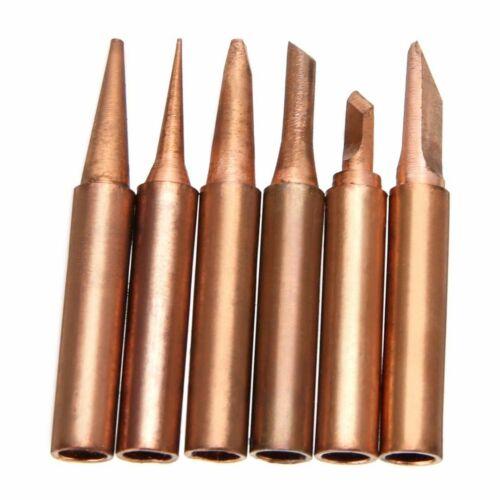 6pcs Copper Solder Iron Tips 900M-T Lead Free Soldering Welding Tool Set Kit Lot