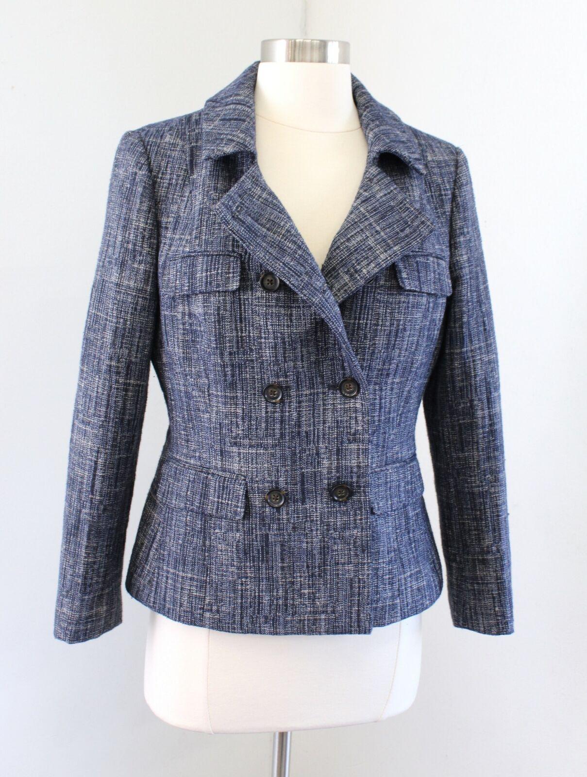 Banana Republic Navy Blue White Tweed Double Breasted Blazer Jacket Size 8 Linen