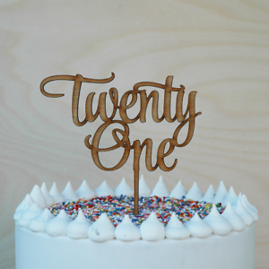 Image Is Loading 21st Birthday Cake Topper Wooden Happy Twenty First