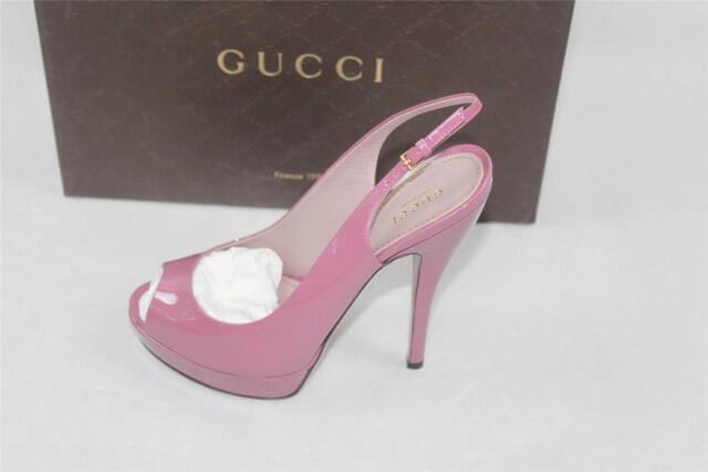 AUTH $730 Gucci Women Vernice Crystal Heel 37