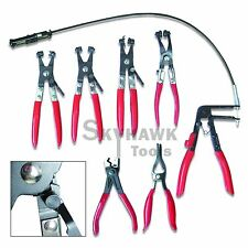 New 7 PC MECHANIC'S HOSE CLAMP RING PLIERS TOOL SET FLEXIBLE CABLE SWIVEL JAW