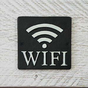Hierro-Forjado-Negro-Letrero-Metal-WIFI-INTERNET-Placa-Pubs-CAFETER-AS-barras