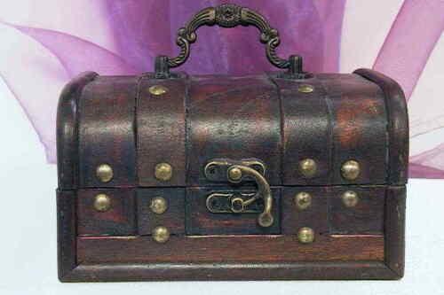 Schatztruhe Truhe Schmuckkästchen Piratenkiste Schatulle Kiste Koffer aus Holz
