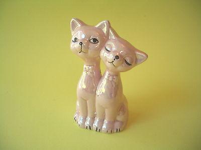PINK CATS FIGURINE LUSTERWARE JAPAN