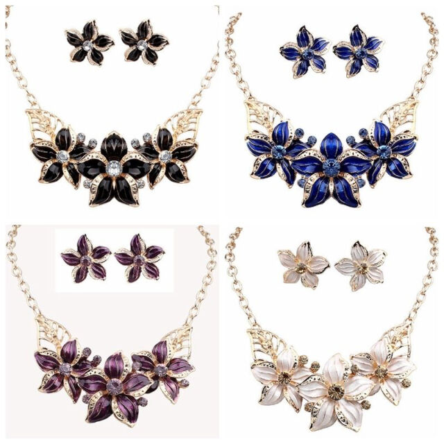 Fashion Womens Jewelry Crystal Flower Bib Statement Chunky Necklace Earrings Set