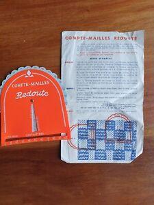 Compte-mailles-Redoute-aide-au-tricot-avec-mode-d-039-emploi-ancien-vintage