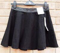 Primark Faux Leather Trim Denim Black Skater A Line Vtg Rare Skirt 12 M