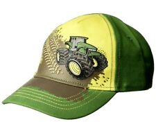 d3565f8be98 1X Green John Deere Tractor On Dirt Elastic Back Baseball Hat Cap Toddler  2-4