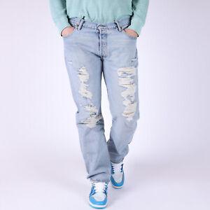 Levi-039-s-501-Straight-fit-David-Herren-blau-distressed-Jeans-34-34-W34-L34
